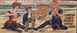 Two Girls and a Monkey on a beach with a candy box - Come On Girls Have A Kiss On Me