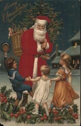 Santa Greets Three Children Who Dance On Holly Boughs
