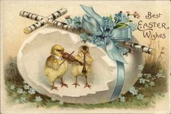 Chicks With Broken Easter Egg Play Musical Instruments