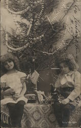Girls with Dolls & Christmas Tree