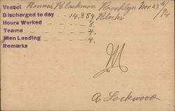 1894 Dock Worker Receipt for the Hannah Blackman