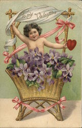 Cupid in Basket of Flowers, To My Valentine