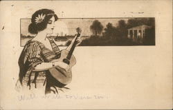 Woman With Flower in Hair Playing Guitar