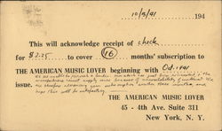 Subscription Stub For The American Music Lover