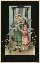 Black-Framed Inset of Girl in Green and Girl in Pink Holding Pink Roses