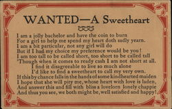 WANTED-A Sweetheart Postcard