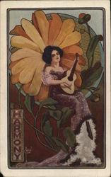 Harmony - Art Nouveau  Woman with Guitar