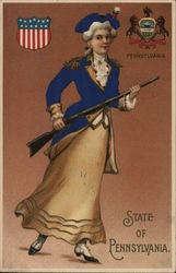 State of Pennsylvania - State Seal and Woman in Colonial Soldier Uniform
