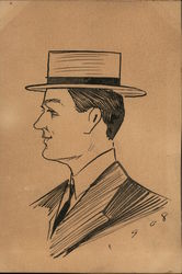 1908 Hand Drawn Pen & Ink Man with Hat