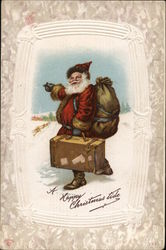 A Happy Christmas Tide - Santa Hitchiking in Snow with Sack and Suitcase