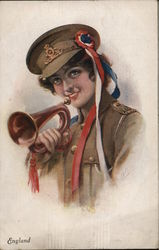 England - Woman in Uniform with Red, White and Blue Streamers Holding Trumpet