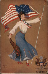 Patriotic woman waving american flag and carrying flowers - United States of America