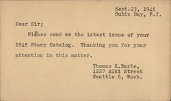 Stanley Gibbons Request Letter for 1945 Stamp Catalog