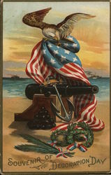 Eagle on an American Flag draped on a canon - Souvenir of Decoration Day