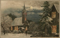 Winter Nighttime Scene Showing Church and Full Moon with Snow on Ground