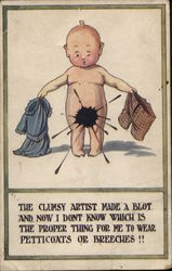 Naked Baby Holds A Dress And A Pair Of Pants