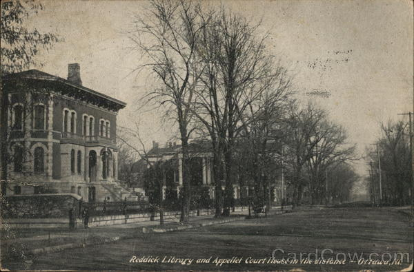 Reddick Library and Appellet Court House in the Distance Ottawa Illinois