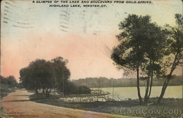 A Glimps of the Lake and Boulevard from Cold Spring, Highland Lake Winsted Connecticut