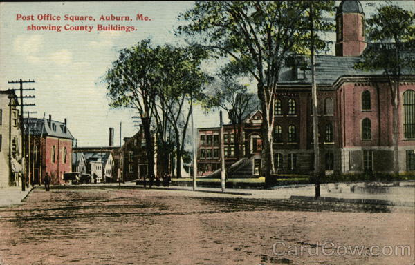 Post Office Square, Showing County Buildings Auburn Maine