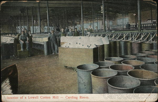 Interior of a Lowell Cotton Mill, Carding Room Massachusetts