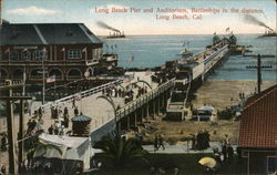 Long Beach and Auditorium, Battleships in the distance