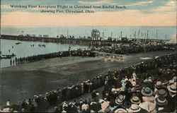 Watching First Aeroplane Flight in Cleveland from Euclid Beach showing Pier