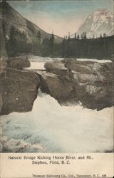Natural Bridge, Kicking Horse River and Mt. Stephen