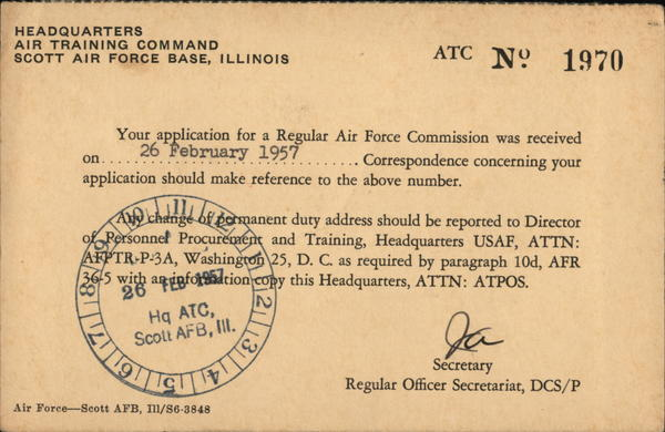 Air Force Correspondence Card Scott Air Force Base Illinois
