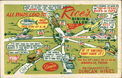 All Roads Lead to Rice's Dining Salon Postcard
