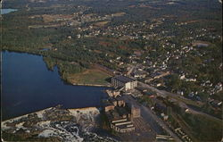 Aerial View of Town and Androscoggin River and Falls