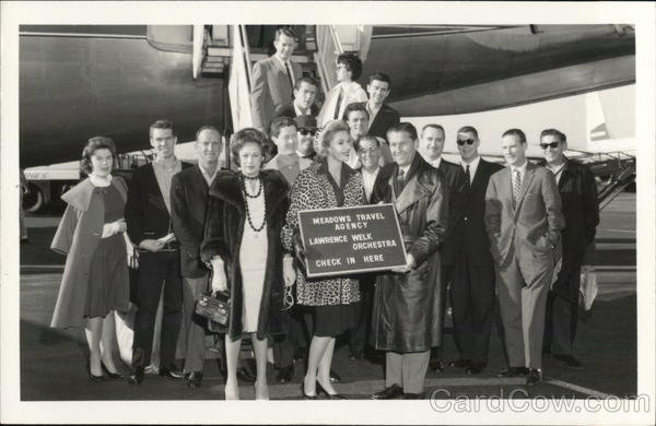 1961 Lawrence Welk And Orchestra Members Step Off A Plane