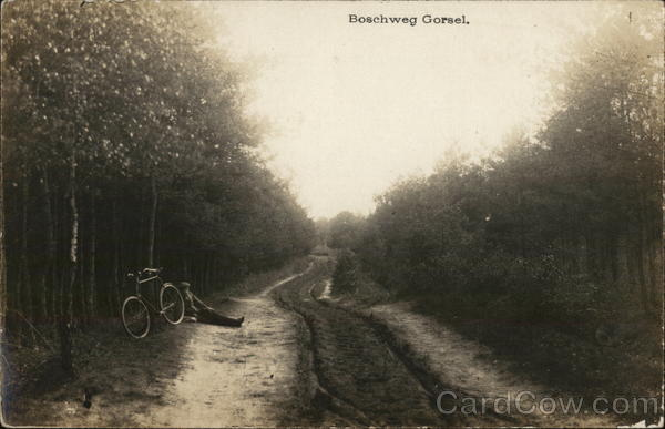 Man and Bike by Side of Road, 1917 Boschweg Netherlands