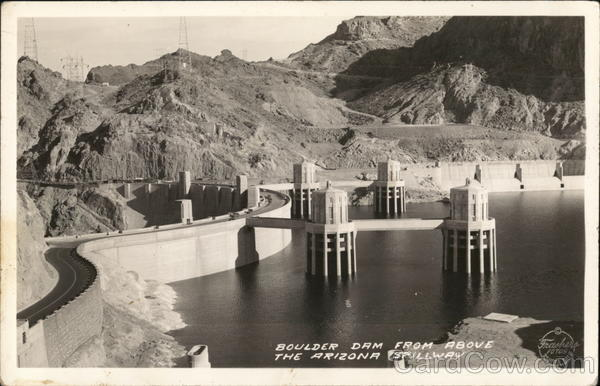 Boulder Dam from Above the Arizona Spillway Hoover Dam Nevada