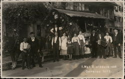 Group of Townspeople with Nazi Flags