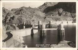 Boulder Dam from Above the Arizona Spillway Postcard