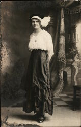 Woman in Black Dress, White Blouse