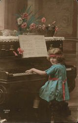 Child in Blue at Piano with Sheet Music