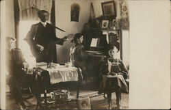 Family in Parlor Playing Music