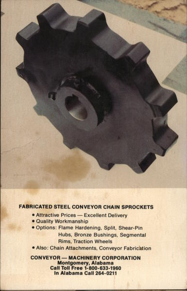 Fabricated Steel Conveyor Chain Sprockets Montgomery Alabama