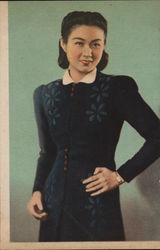 Asian Woman in a Black Flowery Dress