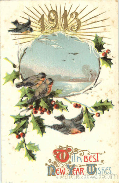 1913 With Best New Year Wishes Postcard