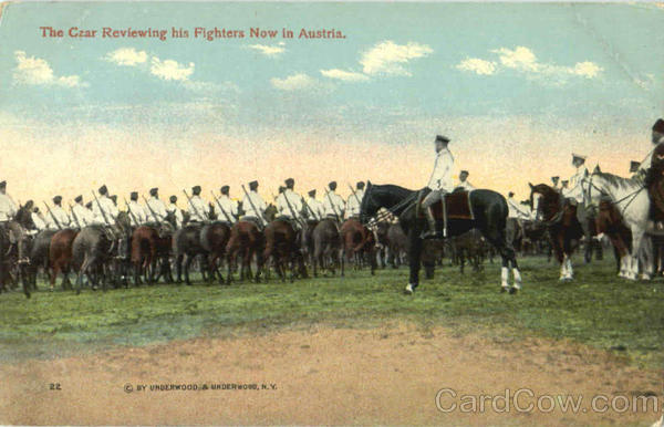 Czar Reviewing His Fighters In Austria Military