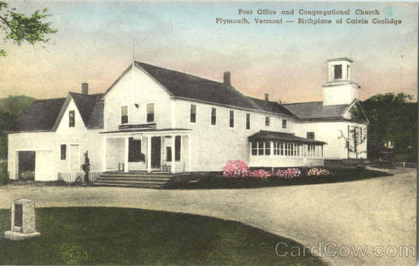Post Office And Congregational Church Plymouth Vermont