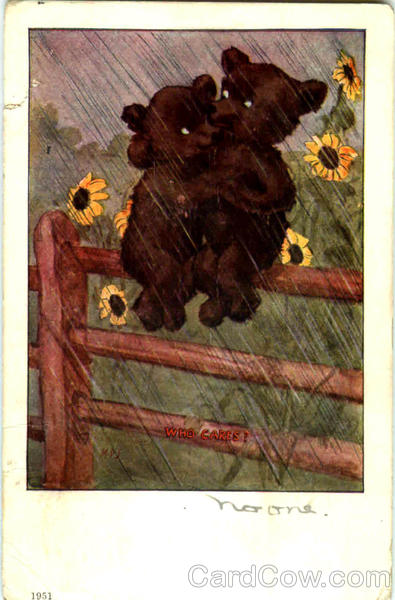Romantic Bears Who Cares? M.D.S. Artist Signed