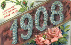 Wishing You A Happy New Year 1908 Postcard