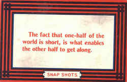 One-half of the world is short