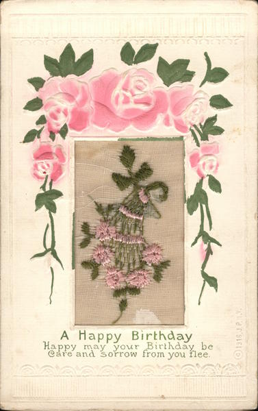 A Happy Birthday Embroidered Silk