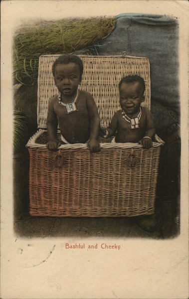 Bashful and Cheeky (Children in Basket) South Africa
