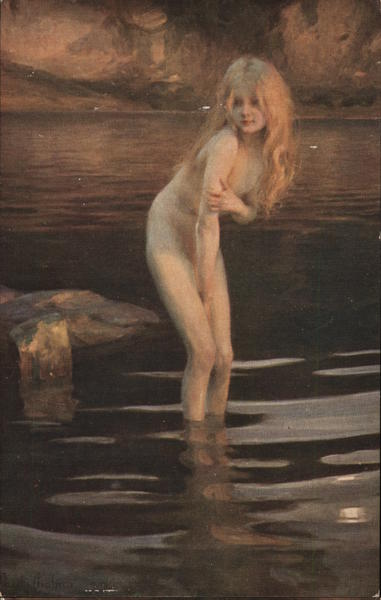 At Dusk Nude woman in river Paul Chabas Women