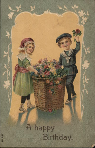 Birthday - A Boy and Girl with Flower Basket